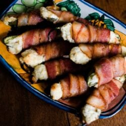 Bacon Wrapped Jalapeño Poppers baked and served