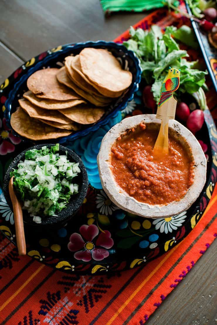 Chile de Arbol Salsa and tostadas