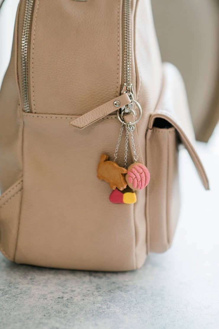 bag pack with Mexican pan dulce key chain