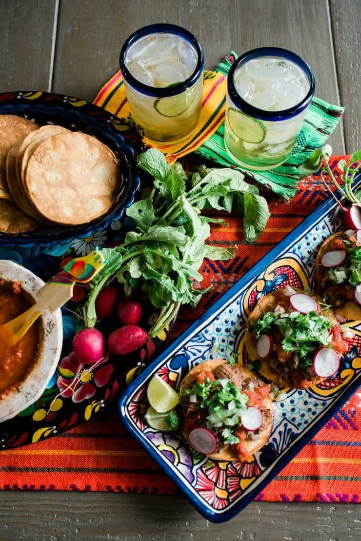 Beers with Lengua tostadas and Chile de Arbol Salsa