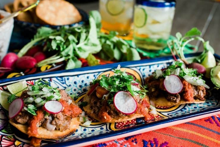 Mexican talavera with Mexican lengua tostadas