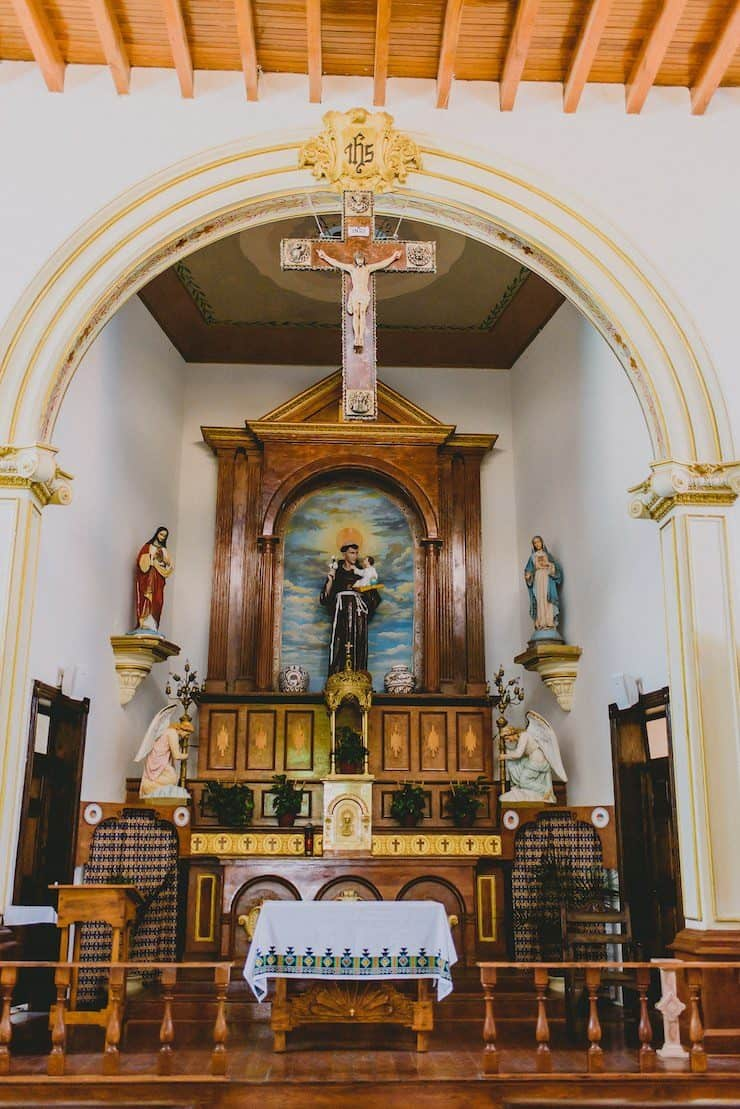 inside altar of the Ysleta Mission in El Paso