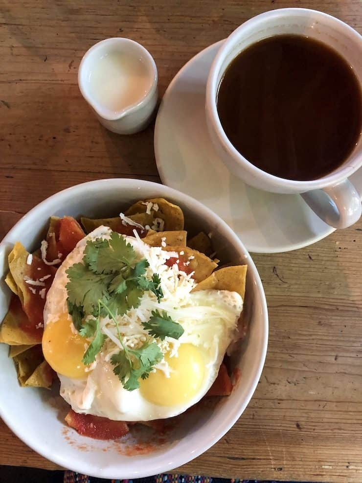Bowl of chilaquiles and cafe American from Eno in Mexico City