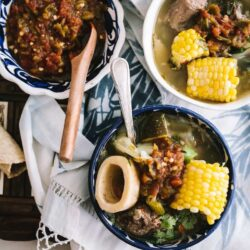 overhead shot of a bowl of Mexican oxtail soup