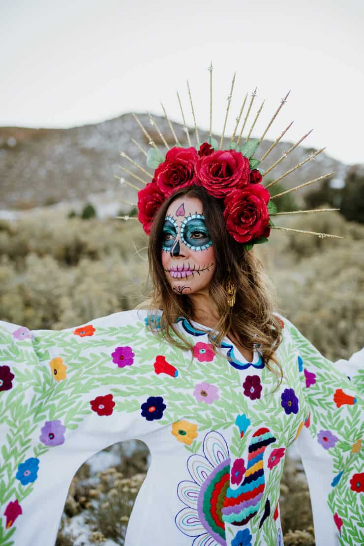 La Calavera Catrina sugar skull makeup red rose crown headpiece