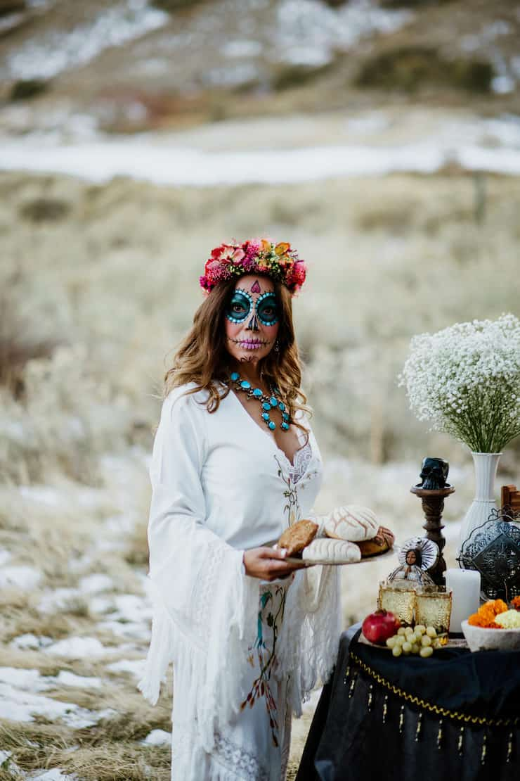 La Calavera Catrina sugar skull makeup dried flower crown headpiece