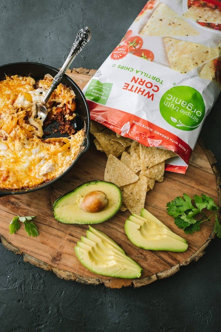 Choriqueso (Queso Fundido with Chorizo) with a side of corn tortilla chips