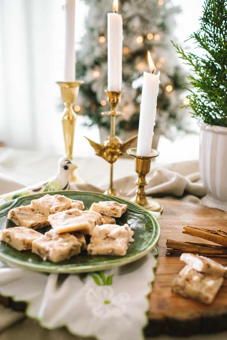 Butter Pecan Bourbon Fudge white candles Christmas morning