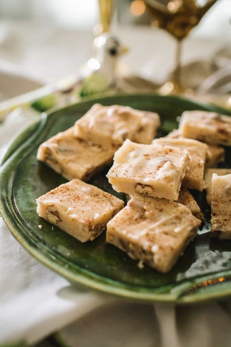 Butter Pecan Bourbon Fudge on a green plate
