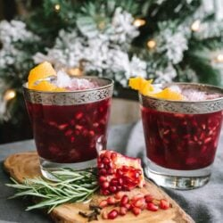 Christmas Pomegranate Margarita served in two glasses