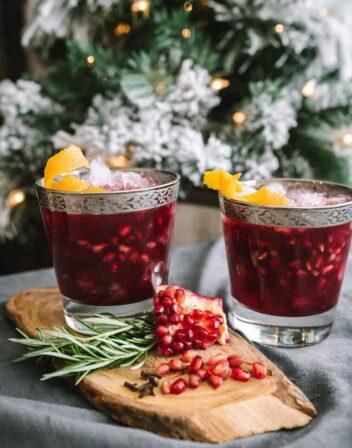 Christmas Pomegranate Margarita served in two glasses