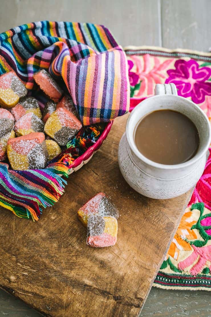 Polvorones (Tri-Color Mexican Cookies) with a cup of coffee