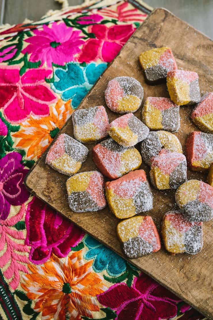 recipe for Polvorones (Tri-Color Mexican Cookies) on wood