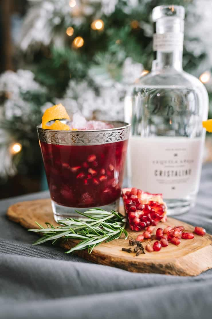 close up of Pomegranate Margarita and Cristalino tequila