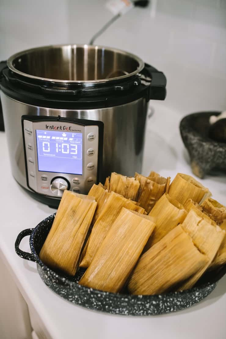 how to steam tamales in an Instant Pot Pork and Roasted Green Chile Tamales