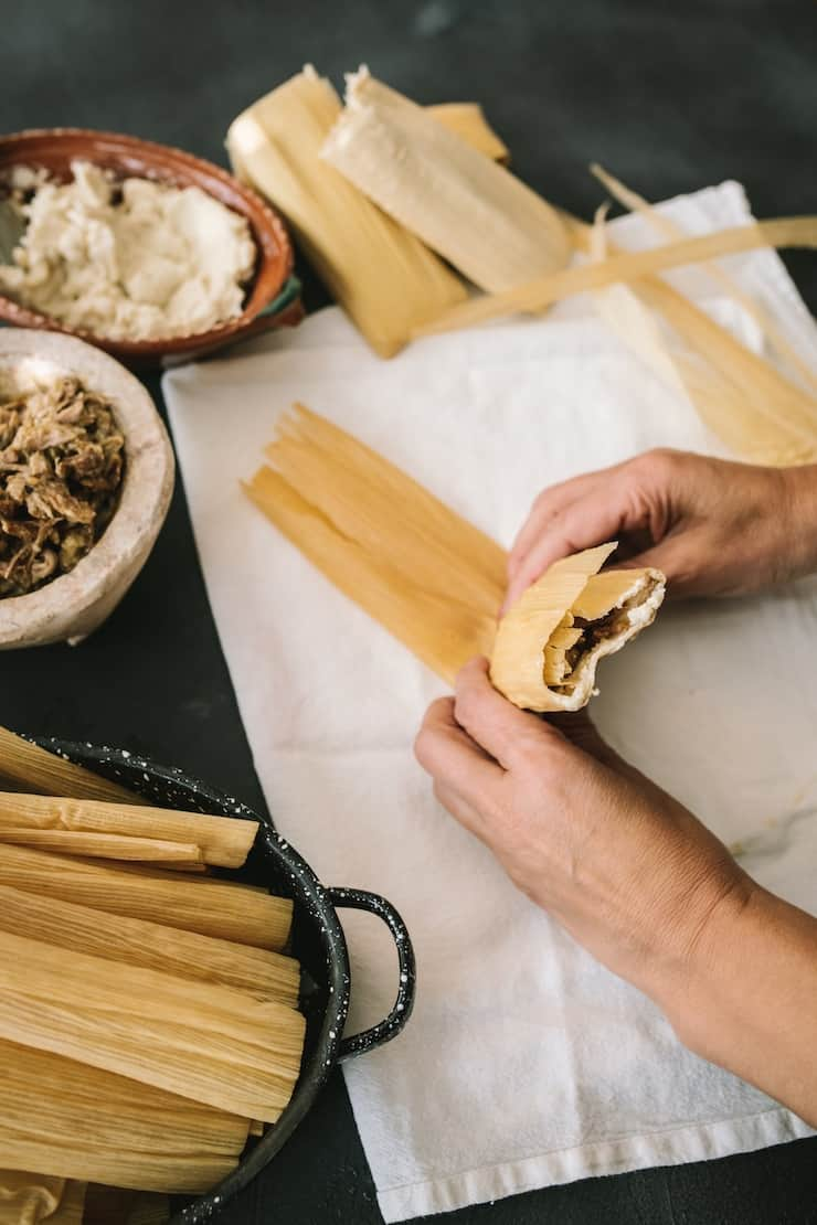 Instant Pot Pork and Roasted Green Chile Tamales how to assemble step by step
