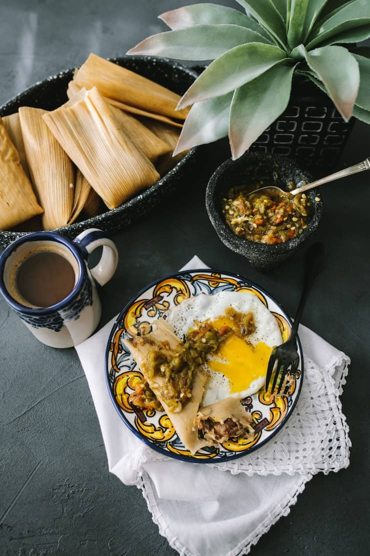 Instant Pot Pork and Roasted Green Chile Tamales for breakfast