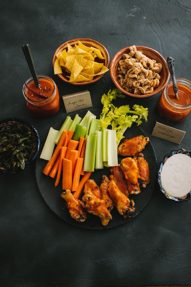 super bowl spread with Baked Chicken Wings