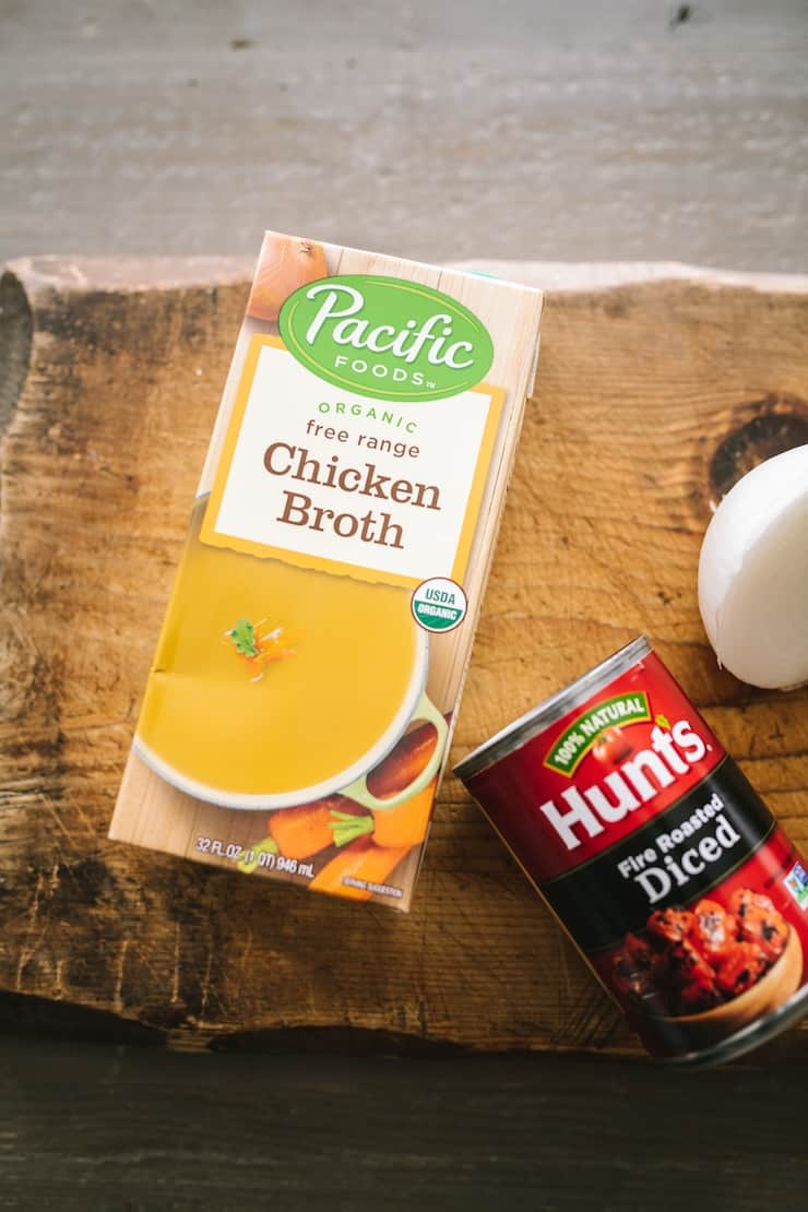 chicken broth and roasted tomatoes for Classic chicken tortilla soup