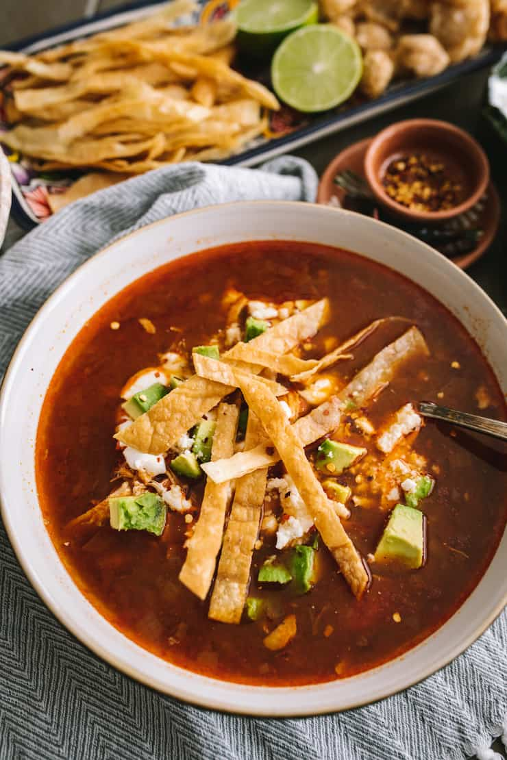 easy chicken tortilla soup in a bowl