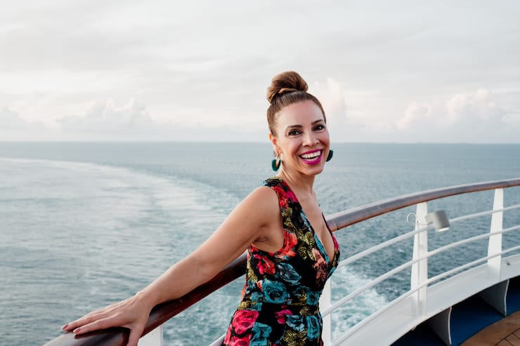 Latina influencer food and travel blogger denver Yvette Marquez on a cruise