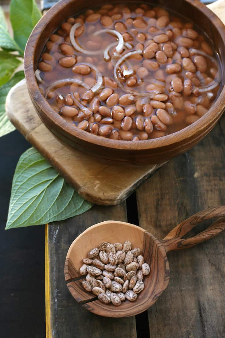 frijoles de la olla in a wooden bowl made on stovetop or Instant Pot
