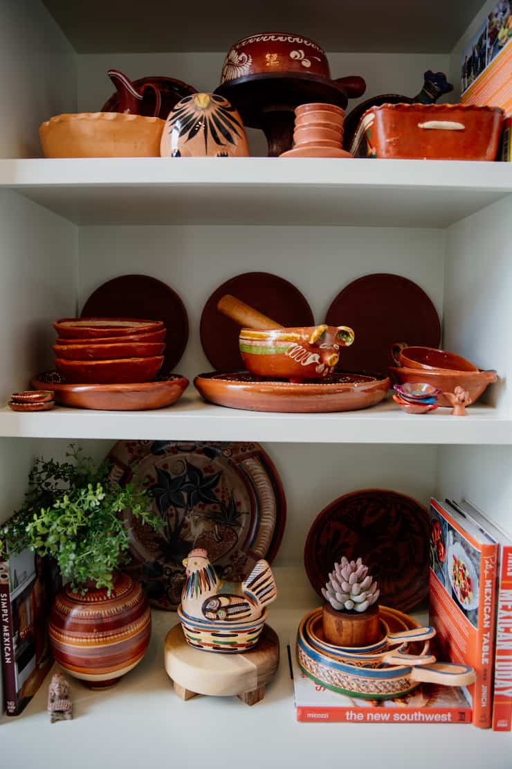 Double-Duty Office Studio and Dining Room Mexican pottery