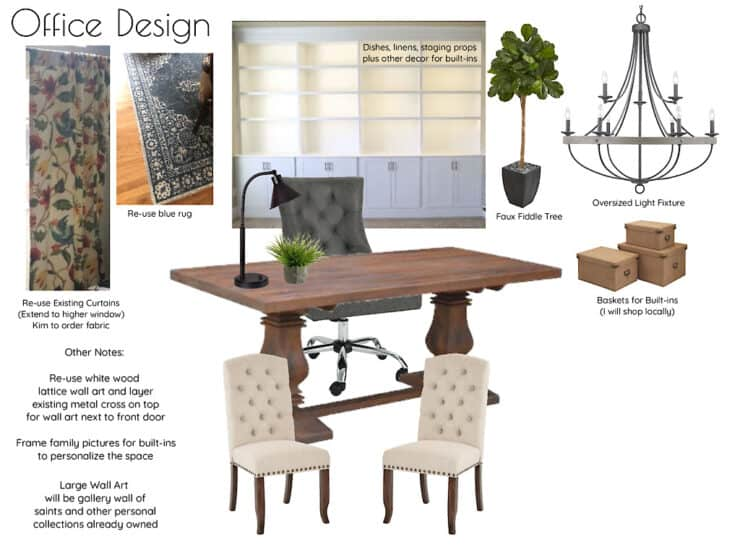 Double-Duty Office Studio and Dining Room office design mood board