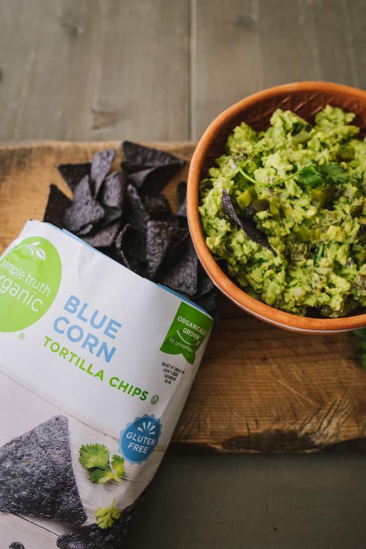 guacamole blue corn chips