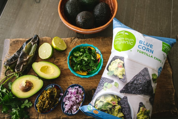 ingredients and corn chips for Hatch Green Chile Guacamole