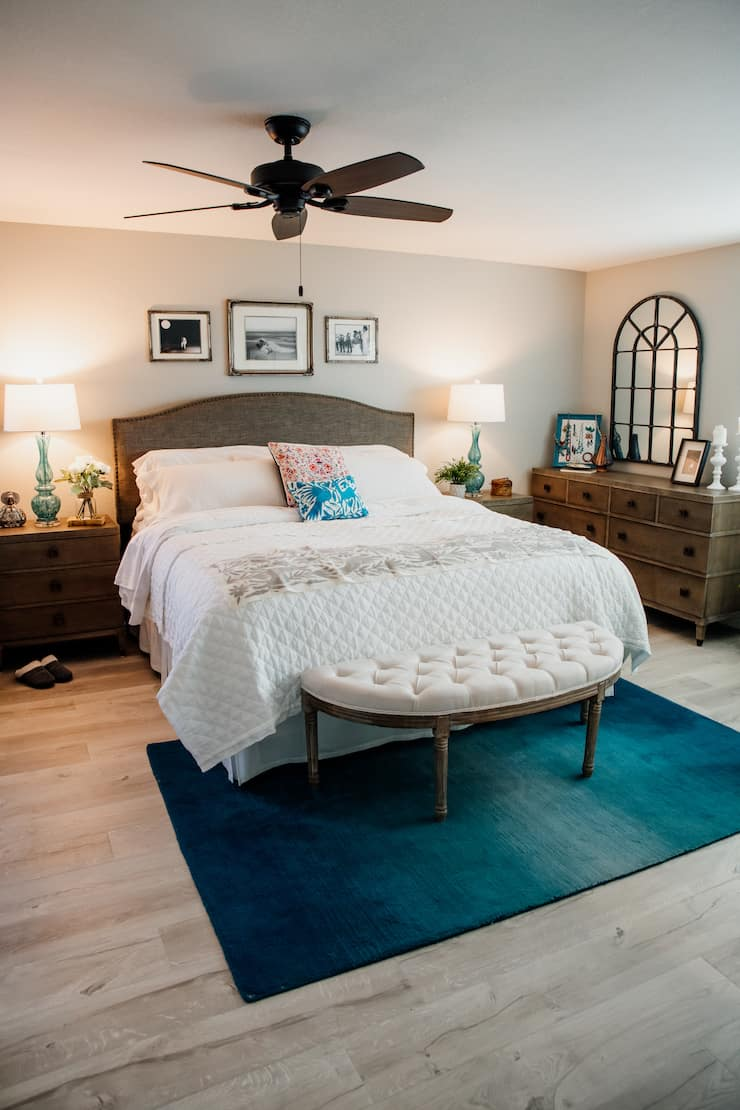 Bedroom retreat with Mexican textiles and turquoise accents