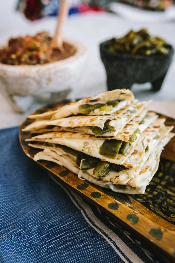 Green Chile and Cheese Quesadilla made with poblanos