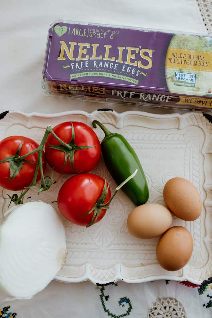 free range eggs by Nellies with fresh ingredients to make Huevos a la Mexicana (Mexican Style Scrambled Eggs)