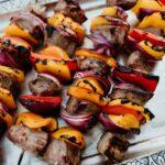 Steak fajita skewers ready and served hot