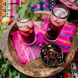 Agua de Jamaica or Hibiscus Tea ready and served on a tray