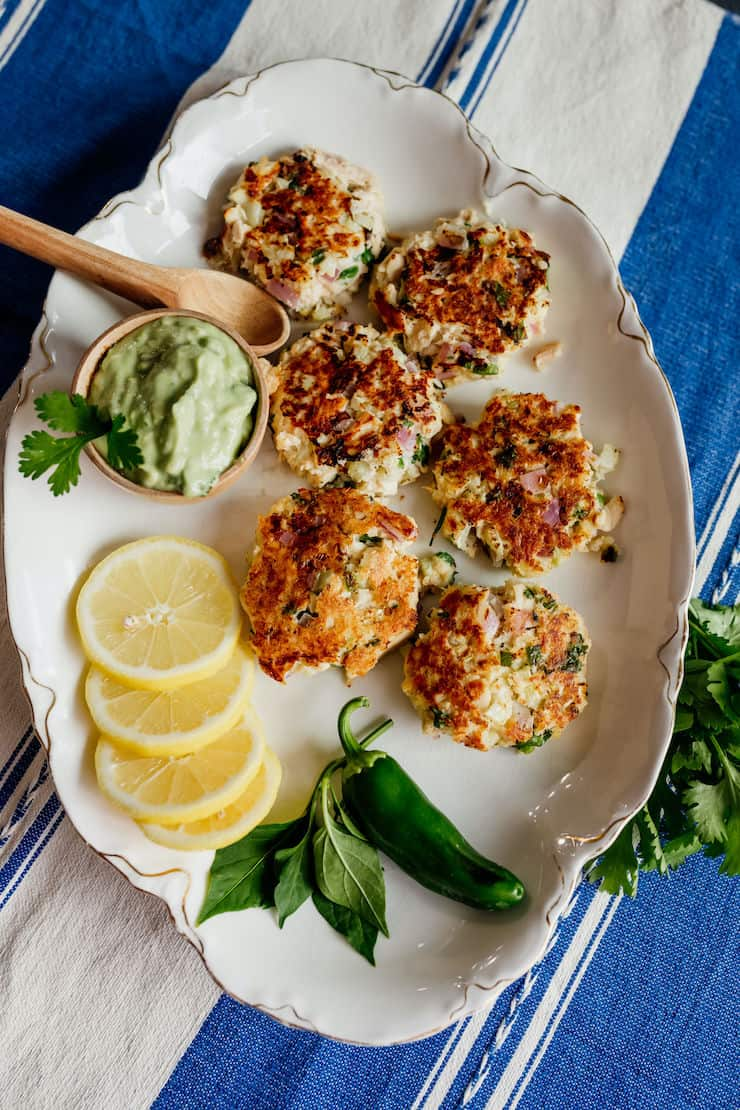 tuna patties on a serving tray ready to serve as appetizers