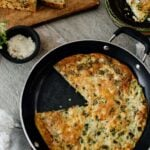 vegetable frittata in pan