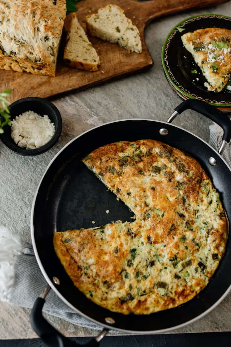 Poblano and Zucchini Frittata in pan