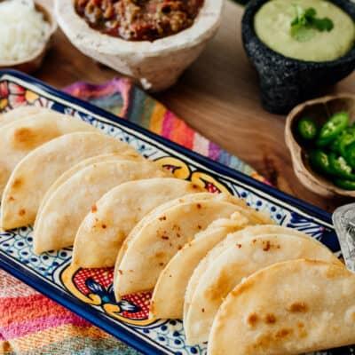 crispy potato tacos on a platter