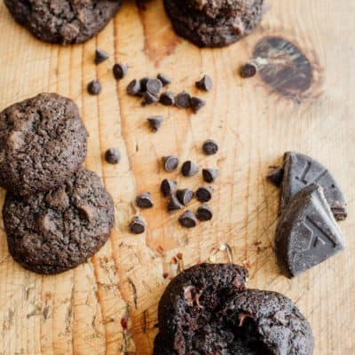 mexican chocolate christmas cookies on a wooden background