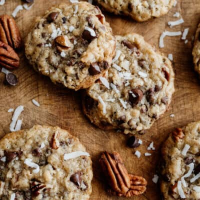 cowboy cookies on a wooden background