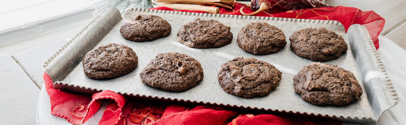 Mexican chocolate christmas cookies on a silver platter