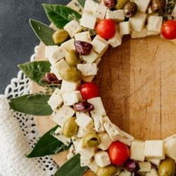 side shot of a christmas wreath shaped cheese board