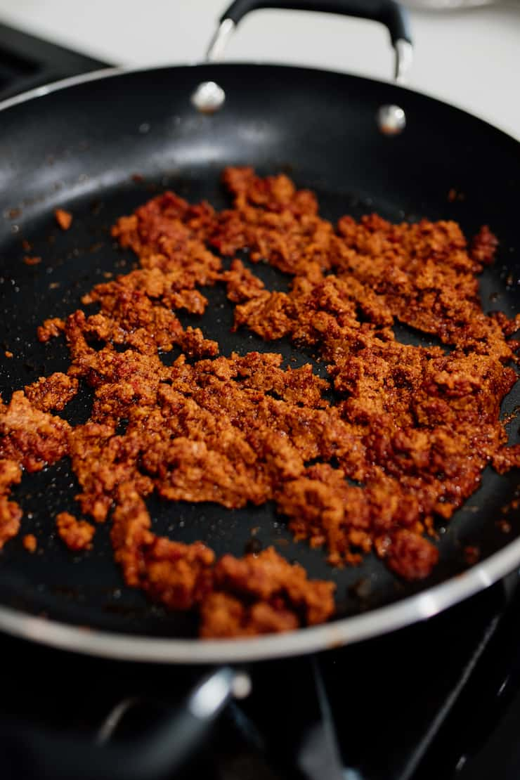 cooked pork chorizo in a nonstick skillet