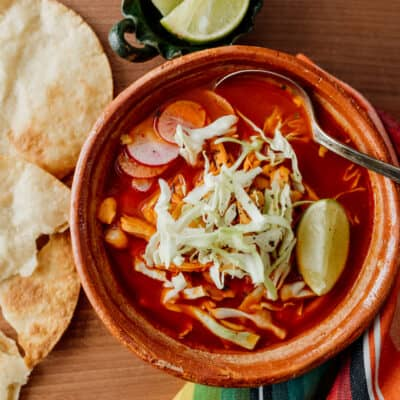Overhead on the delicious Red Chicken Pozole Bowl