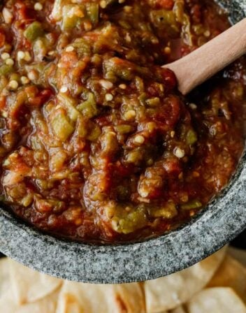 fire roasted salsa in a stone bowl