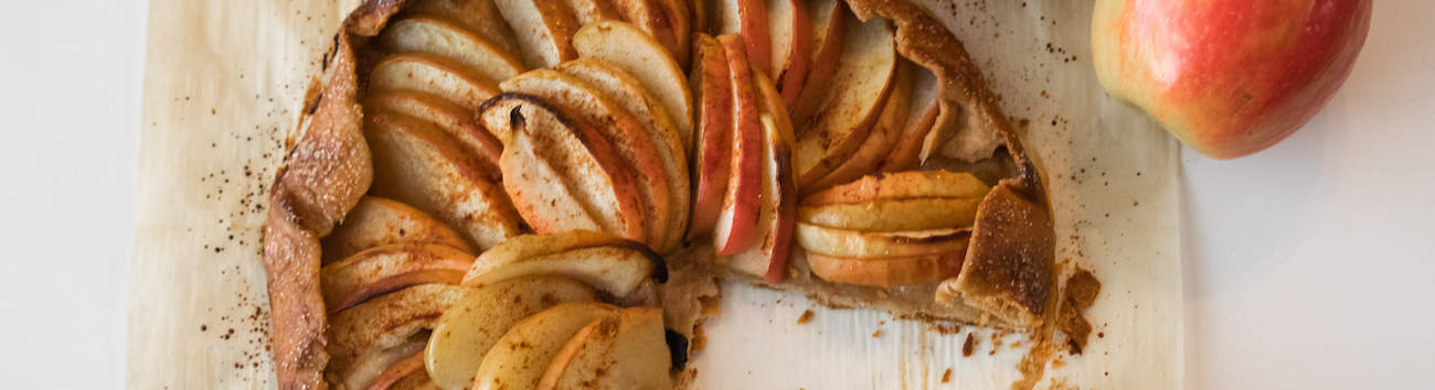 easy apple galette on piece of parchment