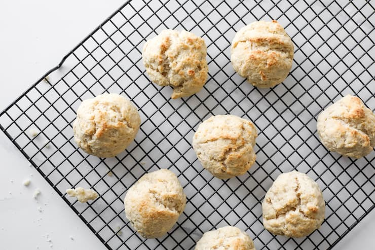 baked biscuits cooling on a rack