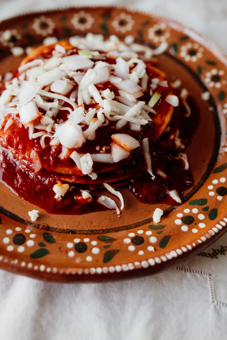 red enchiladas norteñas on a terracotta plate with a floral border