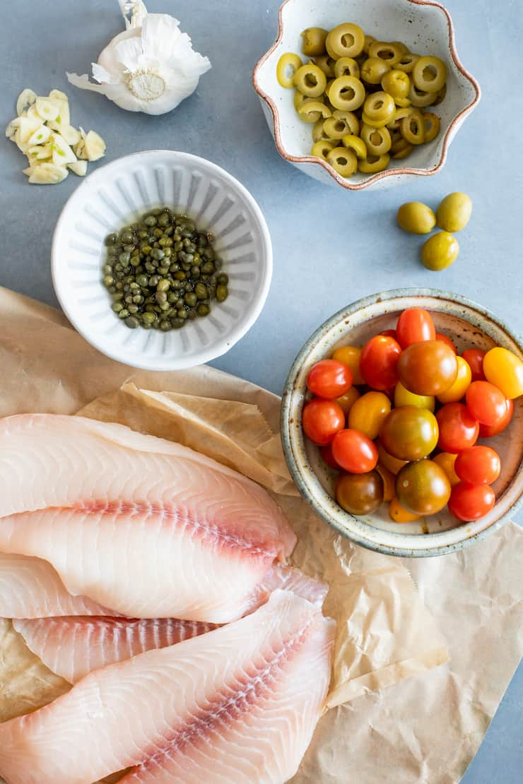 ingredients laid out for tilapia a la veracruzana